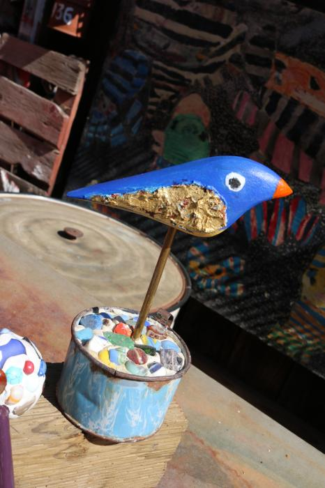 Blue Bird on Marble Cullet