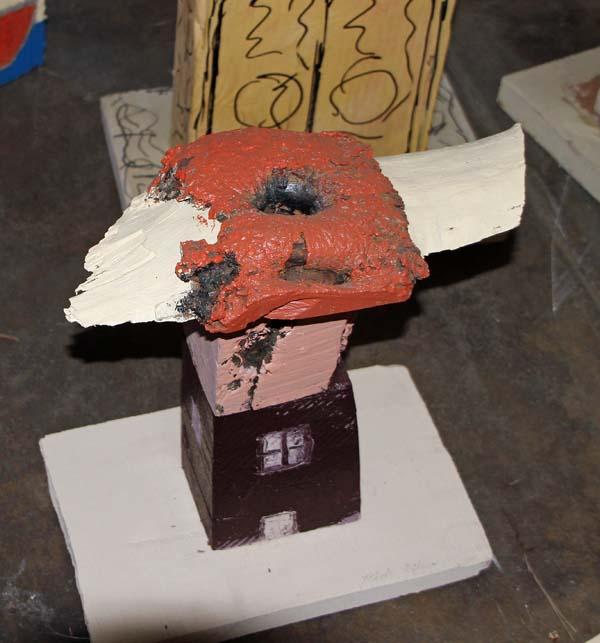 Bird on a House Sculpture