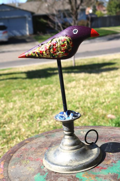 Tabby's Bird on an Antique Candle Holder